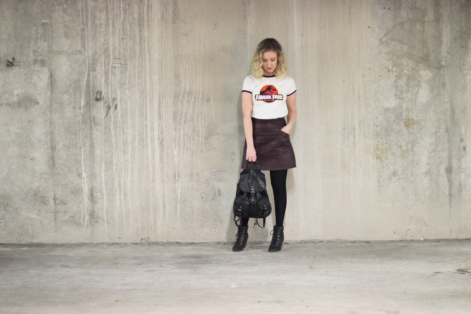 primark-jurassic-park-tee,-new-look-leather-skirt