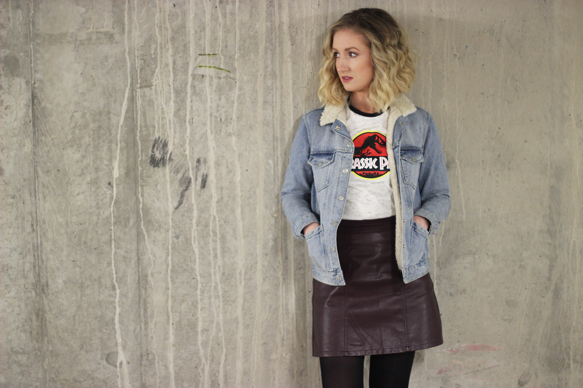 topshop-shearling-denim-jacket,-jurassic-park-tee,-new-look-leather-skirt
