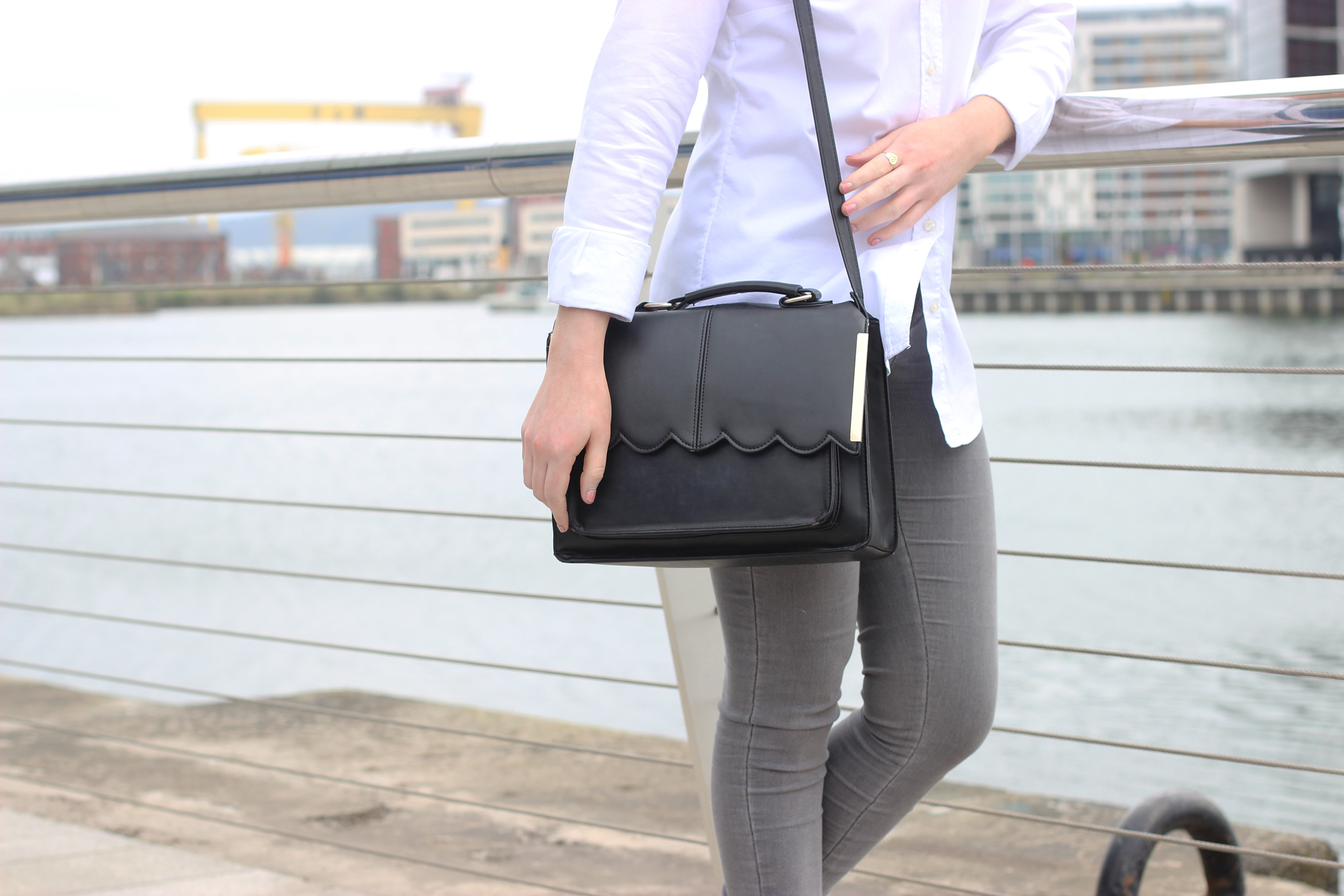 gant-white-shirt,-asos-scallop-edge-handbag